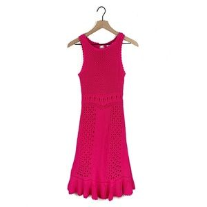 Lilly Pulitzer Molly Hot Pink Harbor Crochet Dress